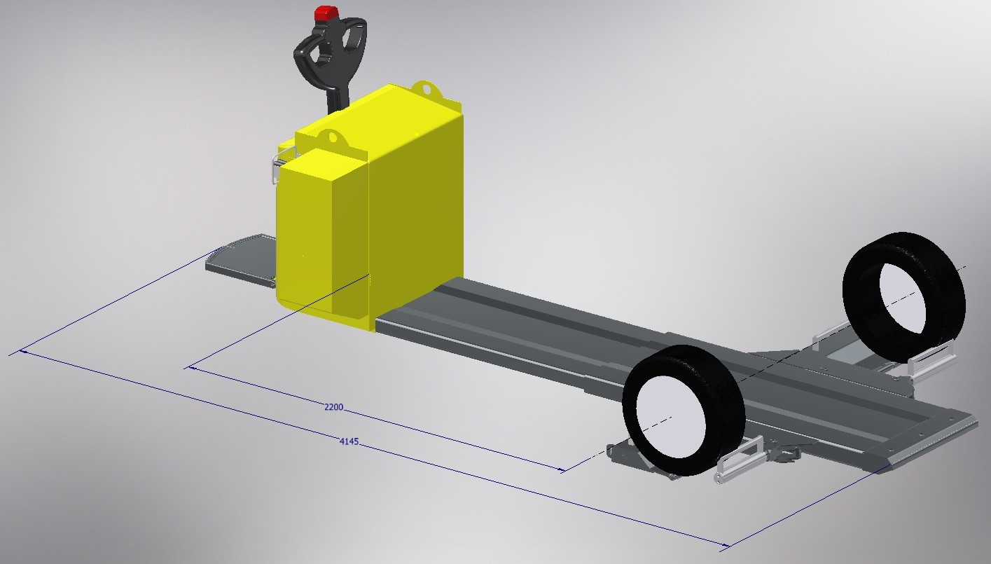 3D modeling of the 1200 mm model of the CARTRACT 2 vehicle mover