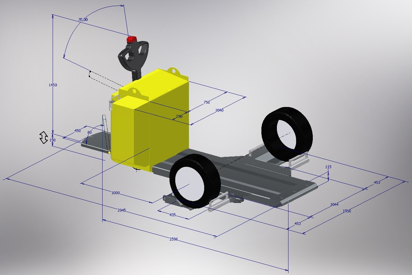 3D modeling of the 300 mm model of the CARTRACT 2 vehicle mover